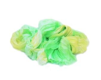 yellow silk scarf - Daffodil  - yellow, green silk ruffled scarf.