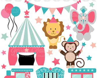 INSTANT DOWNLOAD, baby girl circus clipart, circus vectors, train clip art, for personal use, commercial use, party supply, scrapbooking