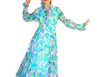 70s maxi dress. Vintage blue green pink dress. Watercolor flowers. Twee Mad Men fashion. Knife pleated collar. Sheer dress. Pastel colors