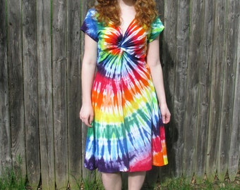 Tie-Dye Rainbow Festival Dress with Short Sleeves and Twist Front