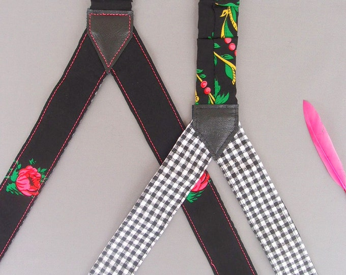 Checkered Womens Suspenders Black Women Suspenders Pink Rose Suspenders Patterned Braces Gift for her Girlfriend Gift Baboshkaa