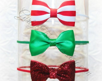 Christmas Headband Set. Baby Headband. Girl Headband. Newborn Headband. Photo Prop. Baby Shower Gifts.
