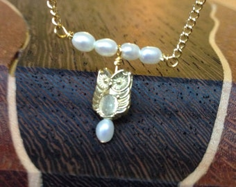 Minimalist Owl and Pearl Necklace