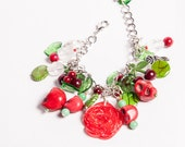 Cheeky Cherry Loaded Rose and Cherry charm bracelet- Pin-up Collection