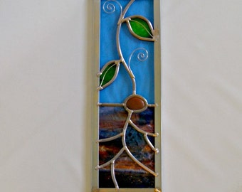 Stained Glass Earth Element Stained Glass Plant Scene Nature Art Glass Panel Abstract Art Earth Day Decorative Art Home Decor