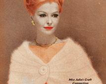 Vintage Woman's Formal Angora Knit Cape Stole 329 PDF Digital Knit Pattern