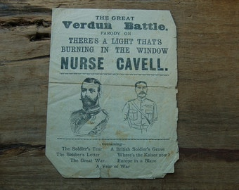 WW1 songsheet The Great Verdun Battle Nurse Cavell Antique WWI ephemera The Great War memorabilia