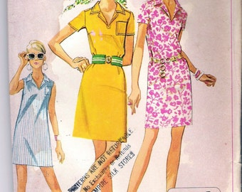 Vintage 1968 Simplicity 7723 Misses Jiffy Dress in Two Lengths Sewing Pattern Size 8 Bust 31 1/2""