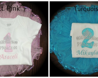 Personalized Princess Baby Girl's First Birthday Tiara Bodysuit Tutu Set 1st (2nd also available) Great for Frozen Elsa theme