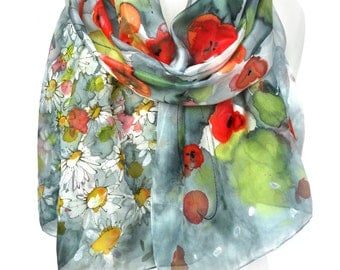 Poppies Scarf. Hand Painted Scarf. Silk Scarf. Birthday Gift. Green Shawl. Daisies Scarf. Echarpe Foulard Soie 18x71in MADE to ORDER