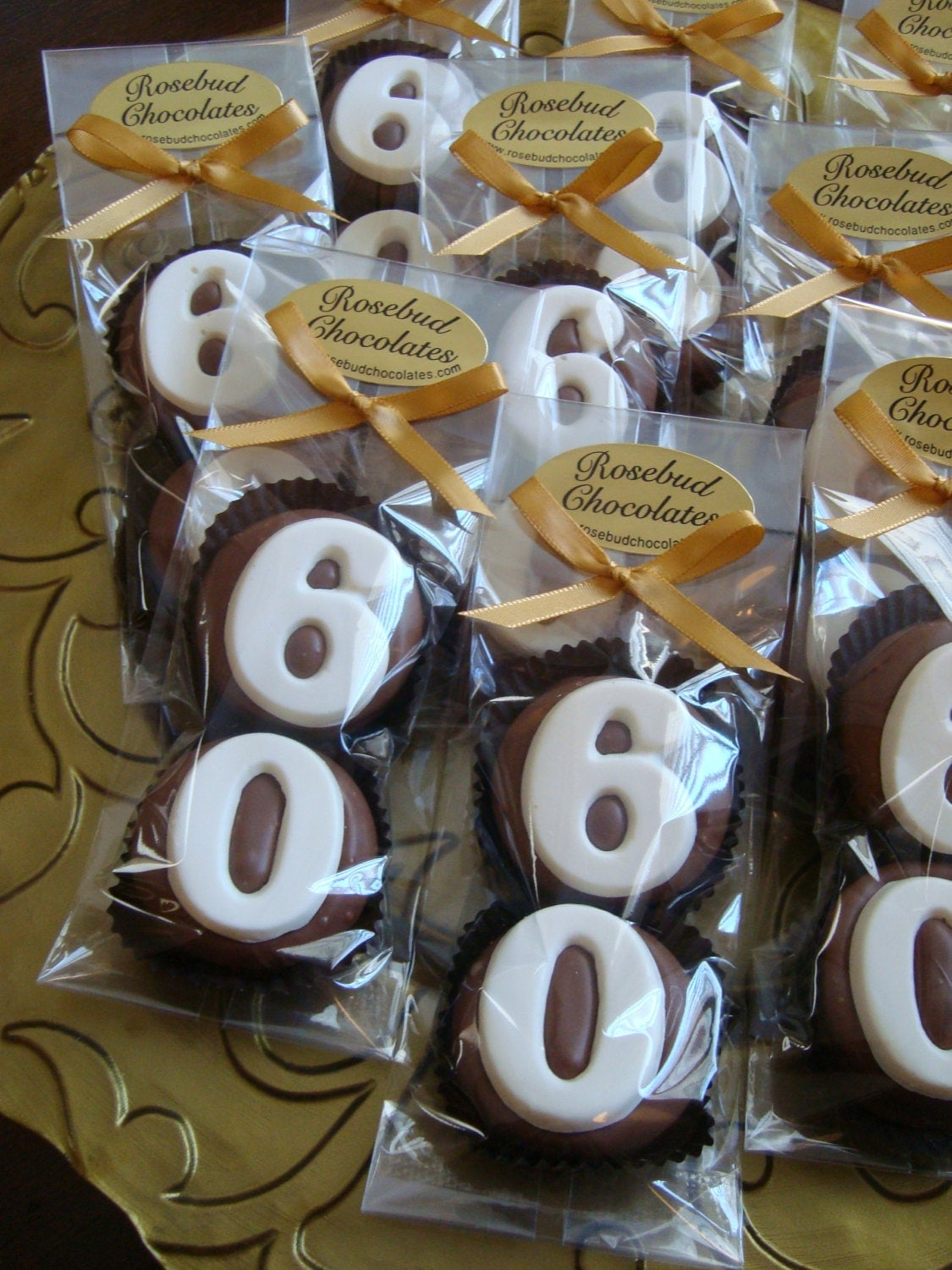 8 chocolate 60th double oreo cookie favors by for 60 birthday decoration party