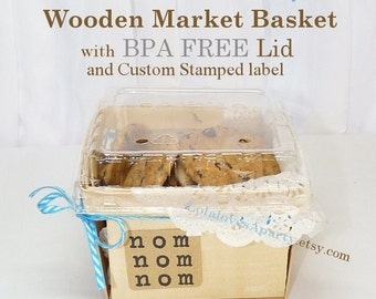 CooKie  Market & Berry Baskets 8 count with LIDS Milk and Cookie Party  Farmers Market Crates  Perfect Pie Slice Boxes - Wedding Cake Favors