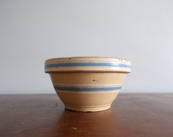 Small 7 Inch Yellow Ware Bowl with Blue and White Bands