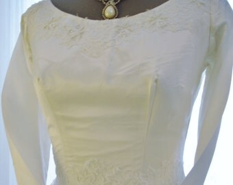 Satin and Lace Vintage Full Ballgown Wedding Dress with Covered Button Back