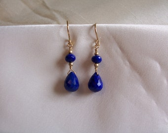 Lapis lazuli briolette earrings 14k gold filled MLMR gemstone handmade  item 650