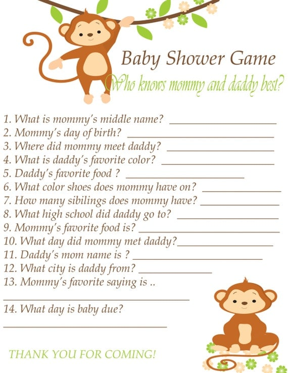 baby shower game printable instant download who know 39 s mommy and