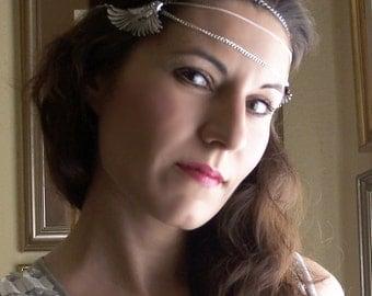Valkyrie headdress Wing headdress feather headband, Rhinestone Bridal headpiece chain wings headband, hair jewelry wedding