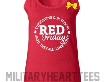 Red Friday Tank Top Shirt, Army, Air Force, Navy, Military Wife, Fiance, Girlfriend, Workout