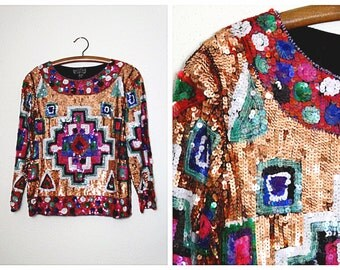 GEOMETRIC Sequin Top // Southwest Aztec Sequined Blouse by Joseph Le Bon Size Large