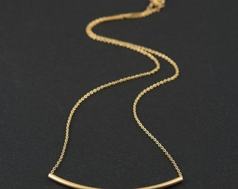 Dainty Necklace, Curved Gold Bar and Fine Chain, Simple Contemporary Minimalist Jewellery