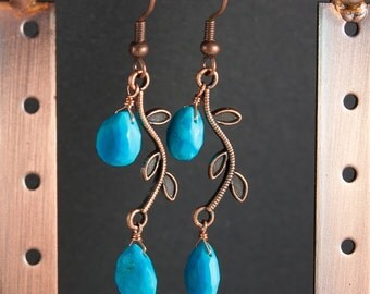 Turquoise and Copper Leaf Earrings, Natural Turquoise Semi Precious Stone Teardrop Beads