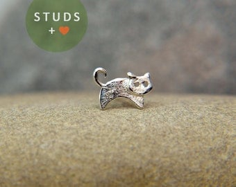 CARTILAGE or TRAGUS french CAT sterling silver/ cartilage earring tragus gold tragus earring cartilage gold cartilage ring nose studs