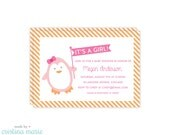 penguin baby shower, 15 printed invitations, personalized invitations, printable file also available