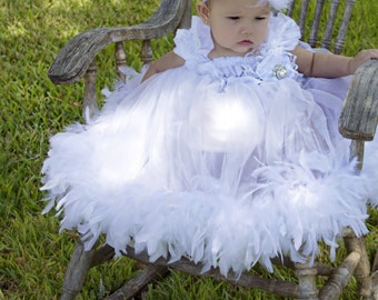 White lace feather dress satin headband pageant holiday wedding vintage photo prop baptism birthday tutu baby flower girl toddler communion