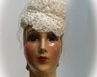 Saks Fifth Ave 1960s White Straw & Pearl Honeycomb Bridal Hat or Mantilla/Chapel Veil Base
