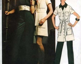 RETRO 70s American Hustle Vogue Americana 2370 Vintage Sewing Pattern Chuck Howard Sexy UNCUT Jumpsuit, Coat Dress or Tunic Pattern Bust 32