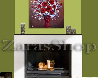 Red poppies wall art, Impasto painting, Original still life paintings, flower bouquet in vase wall decor