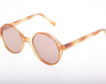 Piave round demi blonde - honey havana vintage sunglasses hand made in Italy, 1970s New Old Stock