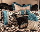 """27x27 Silver Sparkle Sham Trimmed with 2 1/2"""" Turquoise Ruffle"""