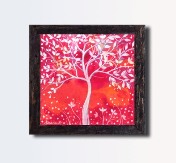 Wall Decor In Red : Abstract red wall decor white tree painting by dhanaart