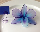 Purple and blue orchid place card holder, nylon flowers, weddings decoration, parties