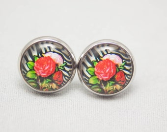 Glass Cabochon Earrings - Zebra Print And Roses - Silver Setting - One Pair