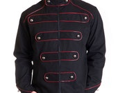 Military Jacket male black circus cotton red outline buttons steampunk parade - Made in Italy
