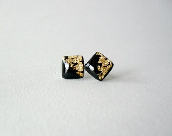 Black and gold post square earrings- Elegant everyday earrings