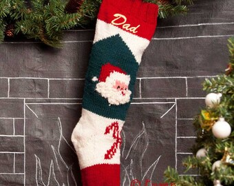 Knitted Christmas Stockings / Personalized Wool Christmas Stocking / Vintage Bernat Christmas Stocking / Embroidered Wool Stocking