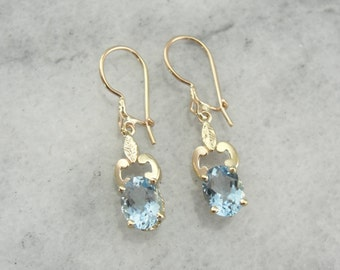 Vintage Aquamarine Drop Earrings with Antique Gold Scroll Decorations T2DA6K-N