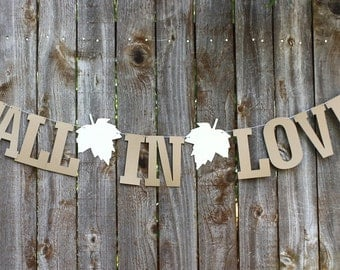 Fall in Love Banner, Fall Wedding Banner, Bridal Shower Banner, Fall Wedding Garland, Rustic Wedding Garland Banner, Love Banner