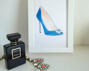 "Blue Manolo Blahnik Shoe - 5 X 7"" Art Print"