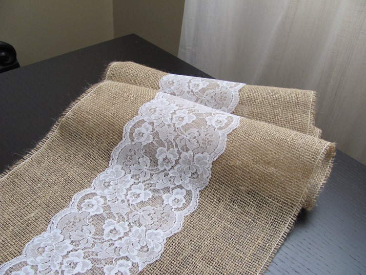 Burlap and Lace Table Runner Wedding / Event Supplies