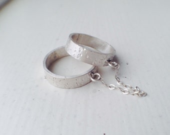 Love Chain -  Recycled Silver Rings - Forged Rings