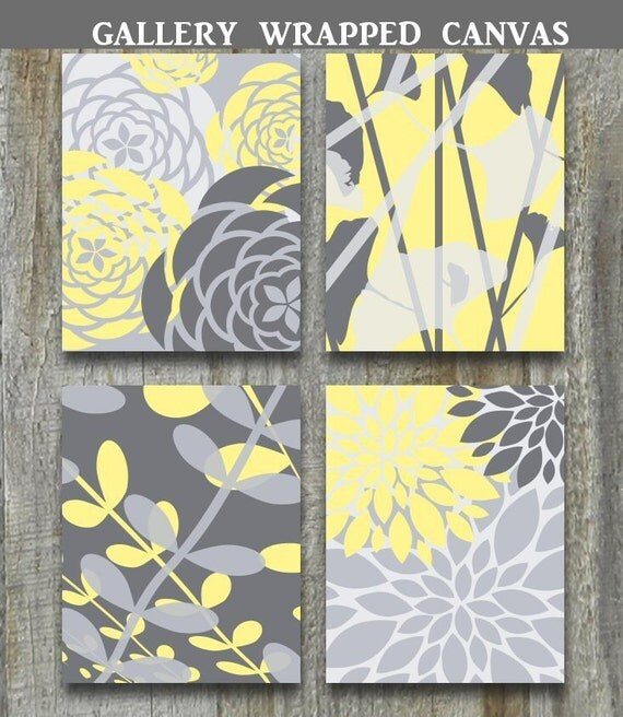 Yellow Gray Home Decor Art Large Art Gallery Wrapped Canvas Set Modern Vintage Floral Flowers Prints