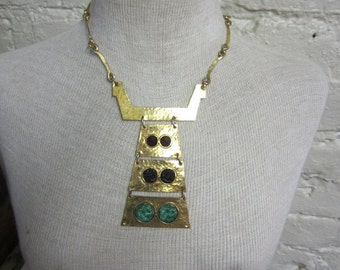 60s Egyptian Necklace Cleopatra Necklace Gold Tone Hammered Brass Segmented Pendant Cabochons