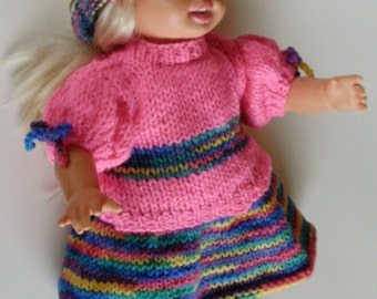 NEW PATTERN Rainbow Party Fun Set Skirt, Blouse, Matching Headbands for American Girl Our Generation, Other 18 Inch Dolls Knitting Pattern