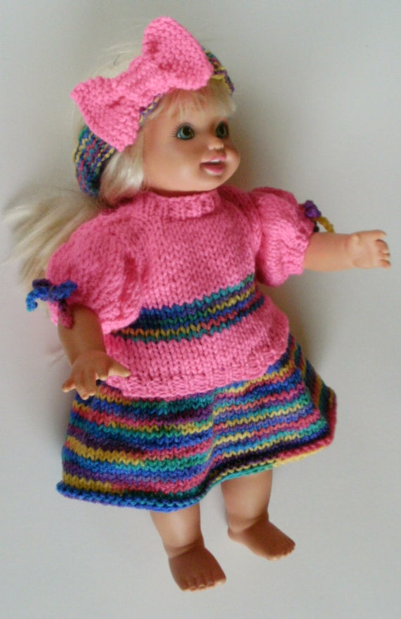 Knitting Patterns For Our Generation Dolls : NEW PATTERN Rainbow Party Fun Set Skirt, Blouse, Matching ...