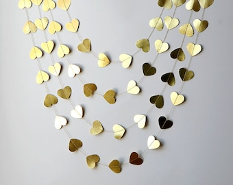 Wedding party garland, Heart garland, Gold wedding garland, Metallic garland,Gold garland, Wedding decor, Bridal shower decor