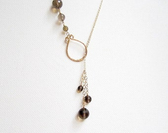 Smokey Quartz Jewelry Lariat Necklace Gold Filled Gemstone Necklace Hammered Necklace Brown and Gold Necklace Gold Gemstone Necklace